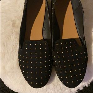 Black and gold studded flats